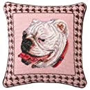 Peking Handicraft 14-Inch by 14-Inch Needle Point Pillow, Bulldog Houndstooth