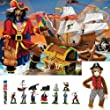 Melissa & Doug Pirate's Bounty Floor Puzzle with Pirate Toob Set of 3 Items