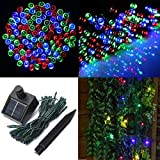 Audew Solar Powered Outdoor LED String Light,RGB,55ft 17m 100 LED Solar Fairy String Lights for Patio, Garden, Christmas, Party, Wedding