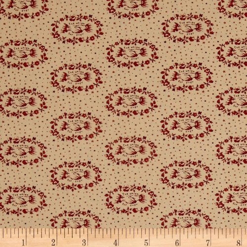 The Union Forever Laurel Friendship Wreath Cream/Red Fabric By The YD
