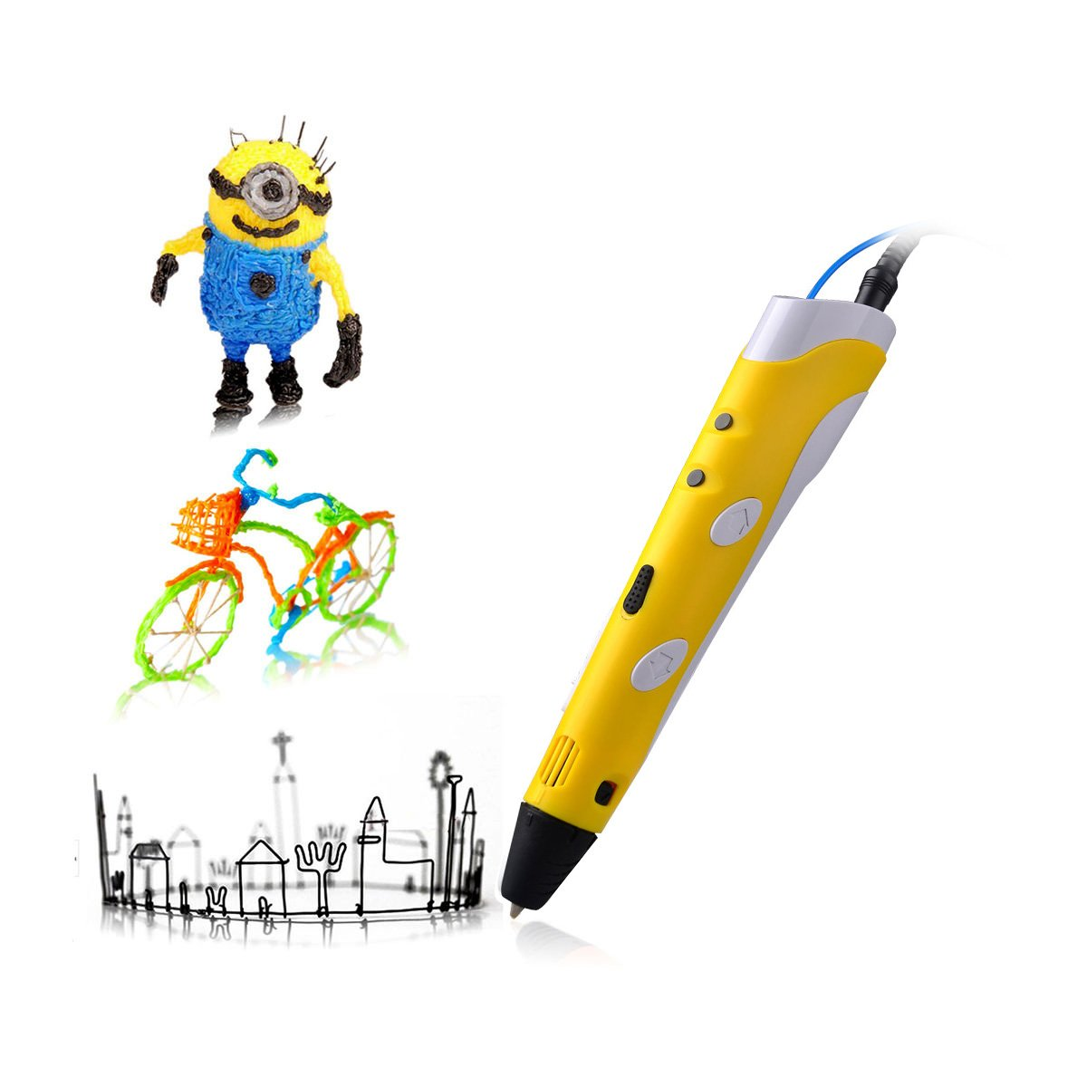 Soyan 3D Arts & Crafts Drawing 3D Printing Doodle Printer Pen with FREE 30G ABS Filament(Yellow)