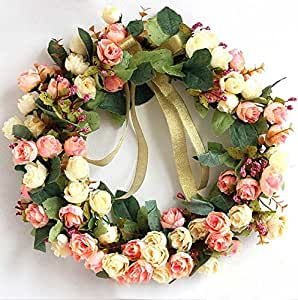 Rose wreath silk flower head floral home wall for Decorate with flowers amazon