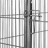 oneConcept Fort Struppi Puppy Outdoor Welpen-Gehege 125 x 85cm Freilauf Welpenauslauf-Käfig Laufstall (oben offen, leichter Einstieg, keine Kanten, Stahl) Silber -