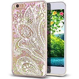 iPhone 6S Case,NSSTAR iPhone 6 Case,iPhone 6S Liquid Case,Flowing Liquid Floating Bling Glitter Sparkle Pink Love Heart Hard Case for Apple iPhone 6S (2015)/ iPhone 6 (2014),Mandala Floral Flower #1