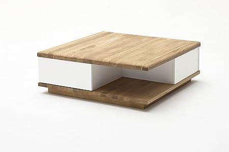 Couchtisch, Beistelltisch, Asteiche massiv, mit Schubladen, L= 85 cm, quadratisch