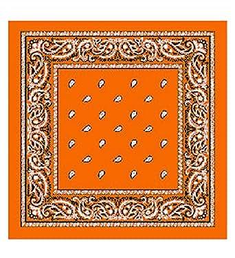 Orange Paisley Cotton Bandanna