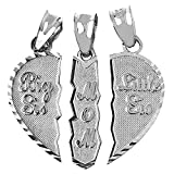 Textured Sterling Silver 3-Piece Diamond-Cut Mom and Daughters Breakable Heart Necklace Pendant (Broken, 3 Pieces)