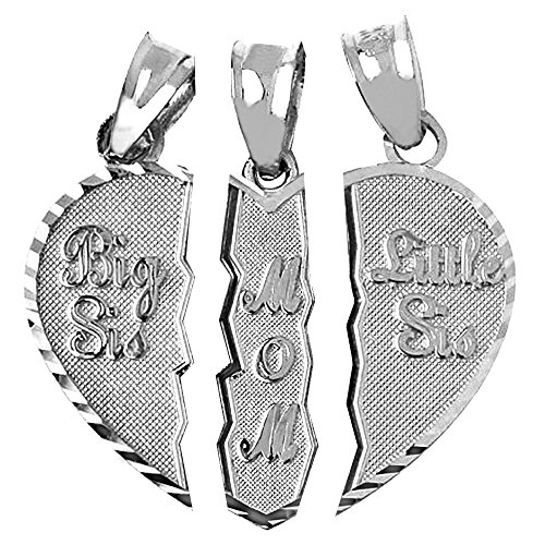 textured-sterling-silver-3-piece-mom-and-daughters-breakable-heart-necklace-pendant-broken-3-pieces