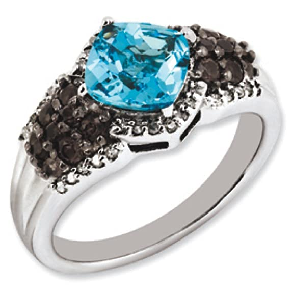 Sterling Silver Blue Topaz and Smokey Quartz And Rough Diamond Ring - Size N 1/2 - JewelryWeb