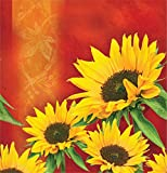 Creative Converting 726963 Plastic Banquet Table Cover in Solid Border Print, Sunflower Style, Orange/Yellow/Green