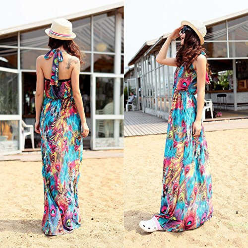 GPCT Sleeveless Colorful Long Maxi Dress. Great for Casual Wear Summer Holiday Beach Bar Cocktail Evening Formal Party Wedding. Stylish, Elegant, Fashion Forward Dress For Women Girls Ladies- Large (Colorful Maxi Dress compare prices)