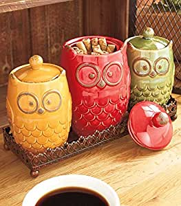 4 Piece Whimsical Ceramic Owl Canister Metal