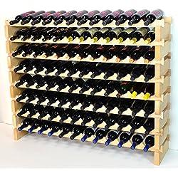 Modular Wine Rack Beechwood 48-144 Bottle Capacity 12 Bottles Across up to 12 Rows Newest Improved Model (96 Bottles - 8 Rows)