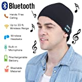 Upgraded 4.2 Bluetooth Beanie Hat Winter Knit Hat Wireless Headphone Musical Speaker Beanie Hat as Christmas Birthday Gifts for Men Women Teen Girls Boys, Built-in Mic (Black-02) (Color: Black-02)