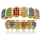 LuReen 14k Gold Plated Iced Out Grills with Rainbow Diamond Hip Hop Teeth Top and Bottom Set (Rainbow Color)
