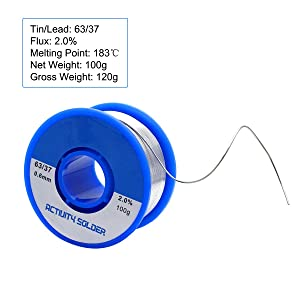 Sywon 63-37 Solder Wire with Tin Lead Rosin Core for Electrical Soldering, 0.6mm, 100g