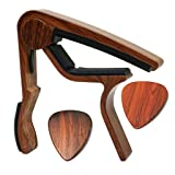 MOREYES Guitar Capo for Acoustic Guitar,Ukelele, Electric Guitar,Bass with Wood Color Guitar Picks(GC-4 Rosewood) (Color: GC-4 Rosewood)