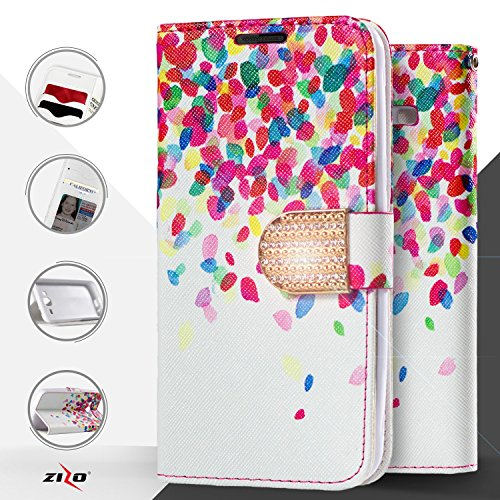 ZTE Imperial Max Z963, ZTE Kirk Z988, ZTE Max Duo LTE, ZTE Grand X Max 2 Case, Luckiefind® Designer PU Leather Flip Wallet Credit Card Cover Case with Stylus Pen (Wallet Leaves) (Zte Imperial Phone compare prices)