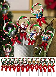 Christmas Wreath Candy Lollipops - Set of 12