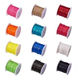 PandaHall Elite 12 Rolls 1mm Waxed Polyester Cord Thread Beading String 10.9 Yards per Roll Spool 12 Colors for Jewelry Making and Macrame Supplies (Color: 12 Colors-12 Rolls, Tamaño: Width 1mm/Each Roll 10m (10.9 Yard))