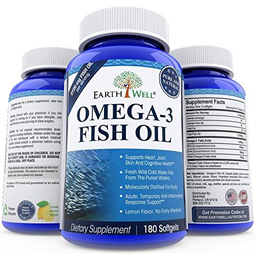 Earthwell omega 3 fish oil supplement lemon flavored 180 for Fish oil capsules for dogs