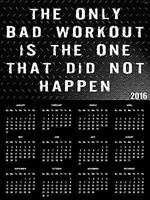 2016 Workout Calendar Poster Fitness Calendar Workout Inspiration 18x24
