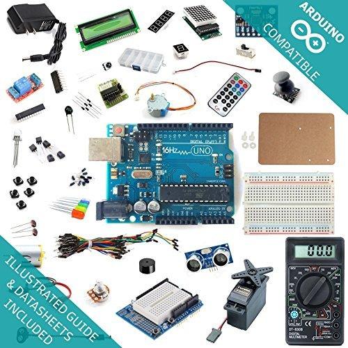 16Hertz UNO R3 Ultimate Starter Kit #3 - LED, LCD, Breadboard, Shield, Relay, 9V Adapter, Sensor, Guide for Arduino, Model: , Electronic Store & More (16 Hertz Starter Kit compare prices)