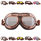 Peicees Vintage Helmet Goggles Motrocycle Scooter Cycle Mountain Bike Motorcross Cycling Goggles Retro Aviator Pilot Goggles Off-Road Glasses Eyewear(Silver Lens) (Color: Silver Lens)