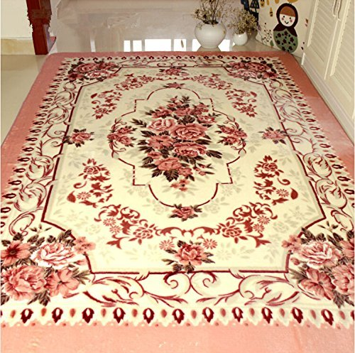 Norson European-style Pink Flowers Carpet Living Room Doormat Rose Bedroom Rugs Soft Baby Crawling Mat