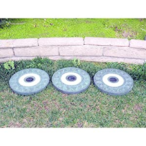 Homebrite Solar Power Round Garden Green Stepping Stones - Set of 3