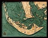 "Sanibel Island, Florida 3-D Nautical Wood Chart, 24.5"" x 31"""
