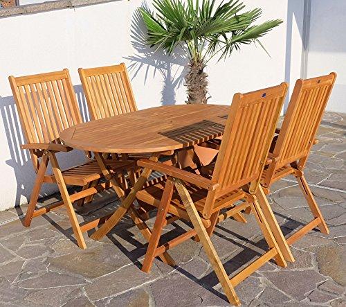 GartenmObel Holz Verstellbar ~   Holz Eukalyptus Tisch 150x90cm + 4 Hochlehner 7 fach verstellbar 'LIMA