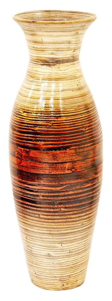 Bamboo Decorative Floor or Table Accent Vase, Bamboo/black/Orange