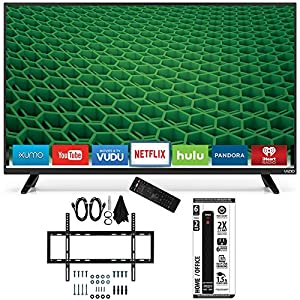 Vizio D50-D1 - D-Series 50-Inch Full Array LED Smart TV Slim Flat Wall Mount Bundle includes TV, Slim Flat Wall Mount Ultimate Kit and Power Strip with Dual USB Ports