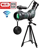 ZTYD 20-60X60mm Spotting Scope Monocular with WiFi Wireless Connect with Smartphone APP,Infrared Night Vision Telescope with Big Tripod&Phone Adapter for Outdoor Trip