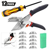 Swpeet Multi Angle Miter Shear Cutter with 10Pcs SK5 Replace Blades and 1Pcs Screwdriver Kit, 45 Degree To 135 Degree Adjustable Angle Shear Hand Shear Multipurpose Tool for Cutting Soft Wood