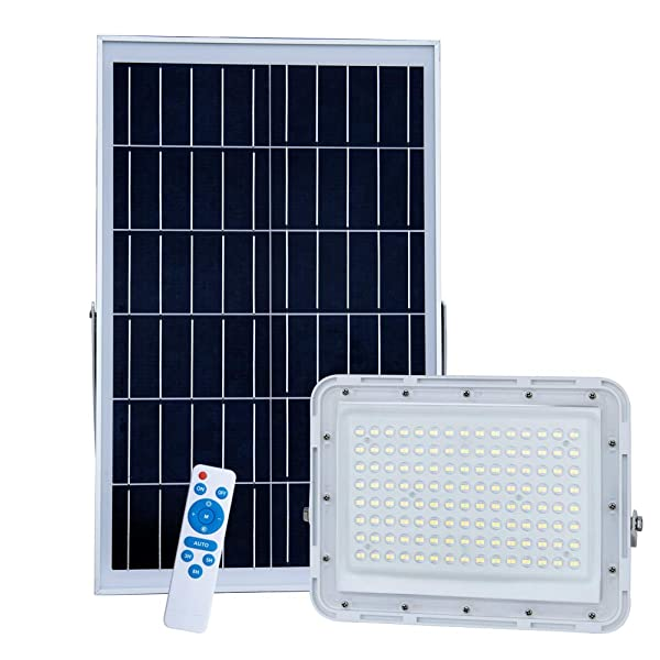 300W LED Solar Flood Lights,22000 Lumens Street Flood Light Outdoor IP67 Waterproof with Remote Control Security Lighting for Yard, Garden, Gutter, Swimming Pool, Pathway, Basketball Court, Arena (Color: White)