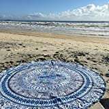 Indian Mandala Round Roundie Beach Throw Tapestry Hippy Boho Gypsy Cotton Tablecloth Beach Towel , Round Yoga Mat by Labhanshi [並行輸入品]