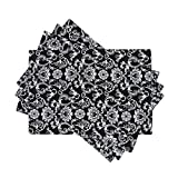 LinenTablecloth Black with White Floral Damask Placemats, 4-Pack