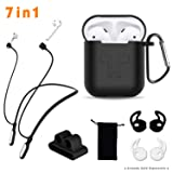 Compatible Airpods Case, Airpods Accessories Kits, 7 in 1 Protective Silicone Cover and Skin compatible Apple Airpods with Anti-lost Airpods Neckband Strap, Airpods Watch band Holder, Airpods Ear Hook (Color: B-Black)
