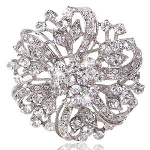Vintage Inspired Bridal Silver-Tone Flower Brooch Corsage Clear Austrian Crystal A02444-2