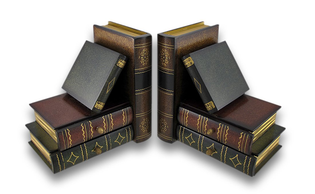 Classic Wooden Book Bookends Library W/ Hidden Drawers