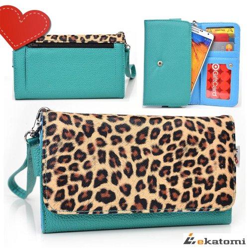 [Safari Metro] Pu Leather Women'S Wallet Universal Phone Clutch Wristlet Fits Samsung Galaxy Note Ii Cdma Case - Leopard & Blue Green. Bonus Ekatomi Screen Cleaner front-1077677