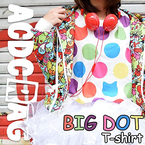 BIGドットTシャツ 水玉 カラフル 原宿系 KERA 青文字系 個性的 派手カワ 猫柄 ダンス 衣装 ACDCRAG
