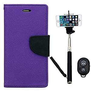 Aart Fancy Diary Card Wallet Flip Case Back Cover For Samsung 7392 - (Purple) + Remote Aux Wired Fashionable Selfie Stick Compatible for all Mobiles Phones By Aart Store