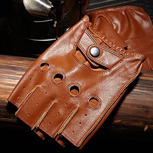 Italian Genuineleather Fingerless Gloves Cycling Motorcycle Driving Gloves Cutout At Back(Brown,L)