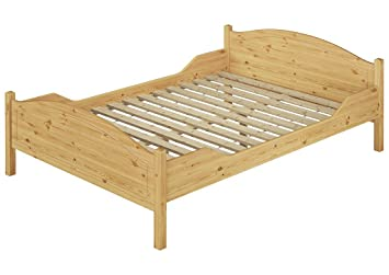 Massivholz-Ehebett Kiefer natur Doppelbett 180x200 Bett mit Lattenrollrost 60.30-18