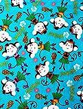 Hawaiian Hula Dancing Monkey 1/2 Yard 100% Cotton Flannel Fabric ~