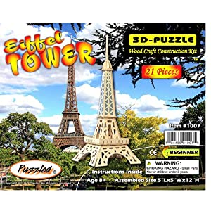 Puzzled Eiffel Tower 3D Natural Wood Puzzle