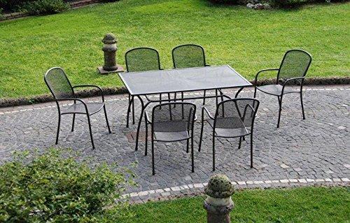 #Tavolo metallo marrone 150x90xH75cm arredamento esterno giardino M0756#